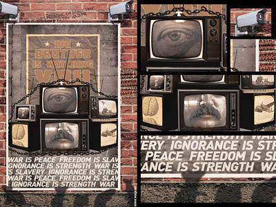 George Orwell -1984 Poster art photoshop digital art painting big brother poster illustration art slavery freedom peace war 1984 george orwell