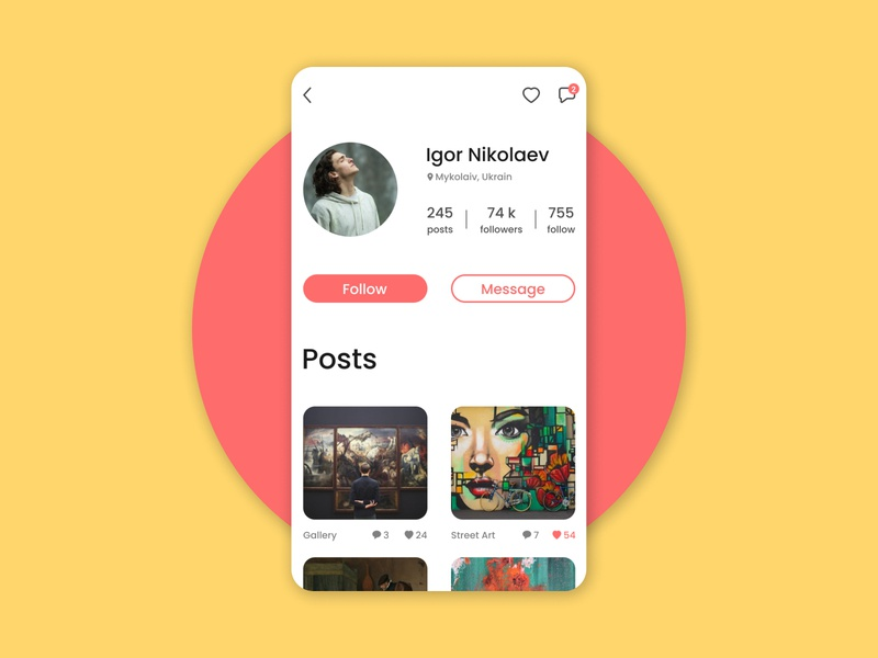 Social network - user profile yellow pink user profile user social network social design dailyui daily ux ui