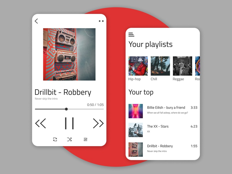 Music Player red music app player mobile application app dailyui ux daily ui design music