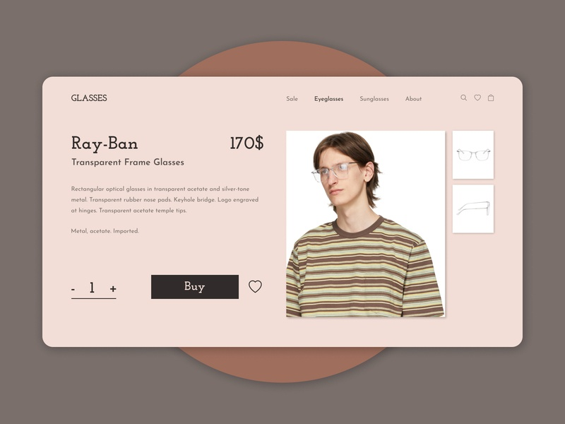 Glasses e-commerce shop e-commerce glasses market shop dailyui ux daily ui design