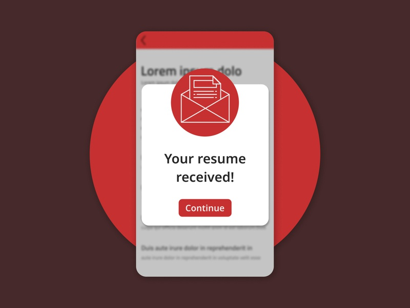 Pop-Up / Overlay resume overlay pop-up red mobile dailyui ux ui daily design