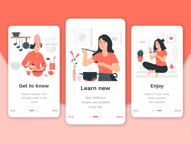 Onboarding cooking cook application red app mobile dailyui ux daily ui design