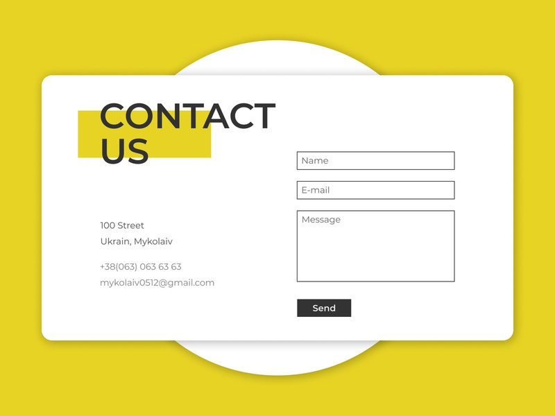 Contact Us form send us contact yellow dailyui ux daily ui design