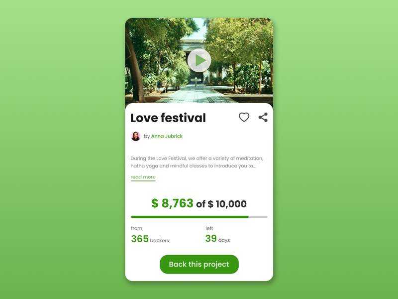 Crowdfunding Campaign fest festive funding crowd campaign crowdfunding green mobile dailyui ux daily ui design