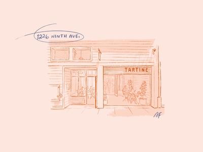Tartine tartine monochrome lineart simple illustration procreate pencil ipad facade clean illustration architectural illustration architecture restaurant bakery san francisco