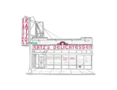 Katz's Deli deli food nyc restaurant travel illustration editorial illustration simple illustration procreate pencil ipad facade clean illustration architecture architectural illustration