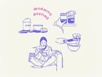 Morning Routine ipadart pencil simple illustrations illustration design illustration art linework lineart illustration digital illustrator illustration procreate