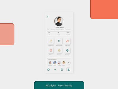 Daily UI - User Profile social media neumorphic user profile mobile dailyui ui mockup design illustration
