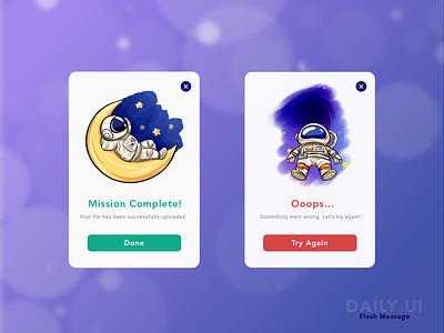 Daily UI - flash message astronaut popup failed success flash message dailyui app design illustration