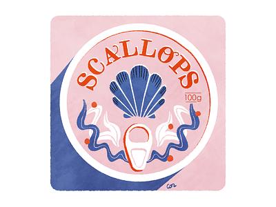 scallops logo photoshop typography illustration food digital design