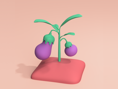 eggplant eggplant plant illustration game art fusion360 3d modeling 3d art 3d illustration