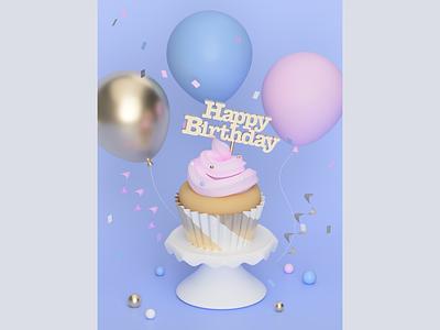 Birthday Party typography food digital art illustration food illustration fusion360 3d modeling 3d illustration 3d art