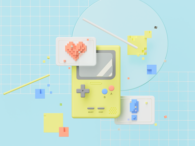 Gameboy Pocket digital digital art illustration fusion360 3d modeling 3d illustration 3d art