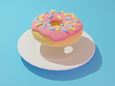 Simple Donut blender3d food illustration blender food digital digital art illustration 3d illustration 3d modeling 3d art
