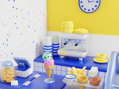 ice cream shop food illustration food blender digital digital art illustration 3d illustration 3d modeling 3d art
