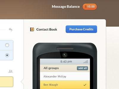 SMS Website Refresh sms cellphone ui interface dashboard