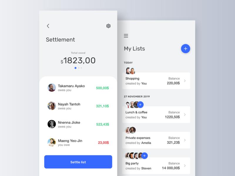 Split expenses app users lists settle ux expenses money split interface design app mobile ui