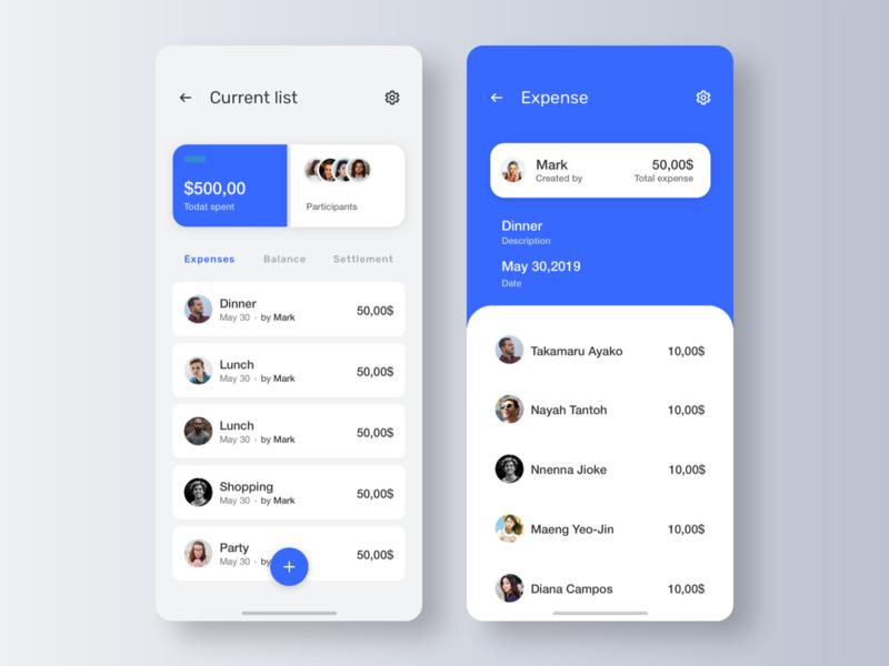 Split expenses app, part 2 ui mobile app design interface split money expenses ux settle lists users