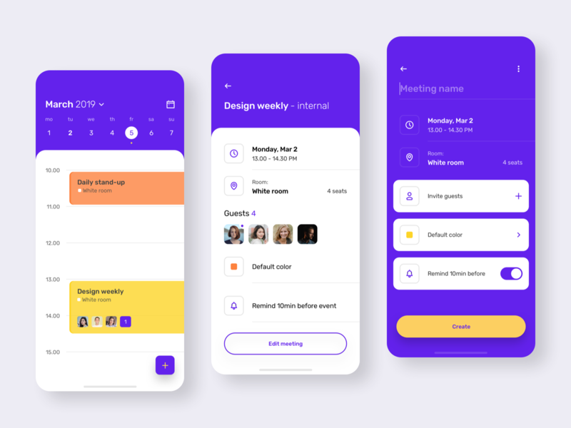 Meeting Scheduler colorful reserve room planner meeting ux interface design app mobile ui