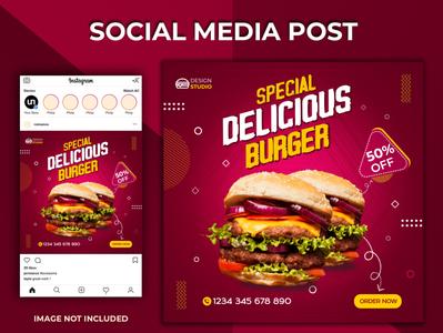 Social Media Post 2020 web app branding design social template design post template burger food social stories post instagram post template social media post template social media post social post design