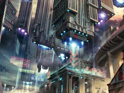 City Of The Future design illustration photoshop web