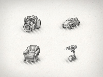 Engraved Icons photoshop web design illustration engraving