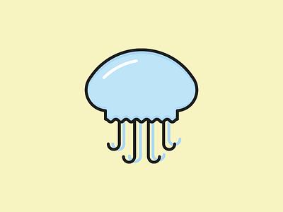 Jellyfish Icon illustration sea ocean flat vector icon summer jellyfish