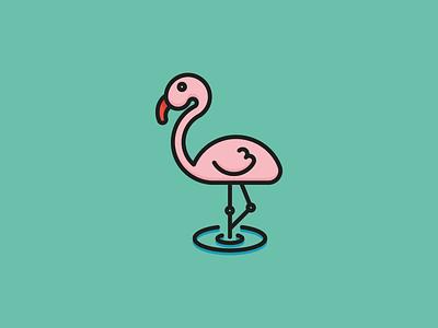 Pink Flamingo Icon vector summer sea ocean sun bird flamingo pink illustration icon flat