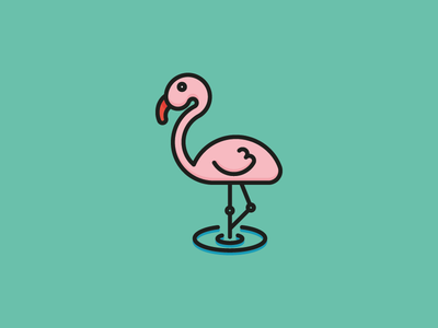 Pink Flamingo Icon vector summer sea ocean sun bird flamingo pink illustration icon flat