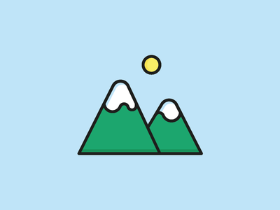 Mountain Icon vector sunny sun summer illustration icon happiness flat peak mountain