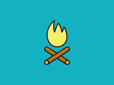 Campfire icon vector sunny sun summer illustration icon happiness flat holidays camping camp fire