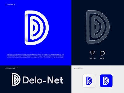 D Letter + Wifi 'Delonet' Logo   Network connection Logo concept modern logo internet marketing logo designer identity branding brand logo design connections connect connection internet router wireless signal d logo letter d clean wifi minimal