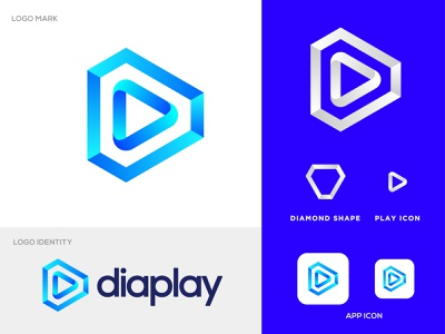 Diamond Shape + Player Logo Concept vector branding jewellery ring jewelry abstract icon clean ui simple minimal gradient design logotype brand identity app icon clean logo modern play diamond