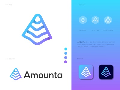 Amounta Logo modern logo art abstract minimal clean creative redesign mobile illustrarion ios iocn app network mount graphic design logodesign logo modren