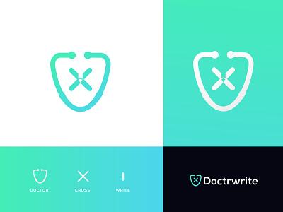 Doctwrite brand mark health healthy medical care concept logo designer agency hospital logo pharmacy fat design brand identity brand modern icon doctor app doctor medicine for sale medical app medical