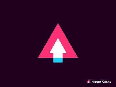 Mount Clicks   modern logo design logo design icon minimal logotype brand design hire logo designer brand identity branding brand mark monogram app falt clean modern mouse click mount logo