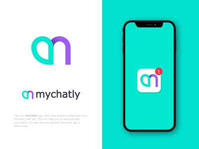 m+chat mychatly app icon design logomark meeting app digital people brand identity design sms icon designer message conference typography app logo app icon talk connection share chat application identity design bradning logo