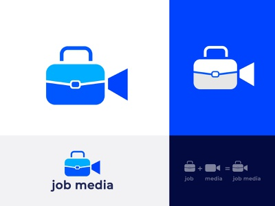 Job Media  Marketing logo design ui web job board job finder simple logo work typography isometric logo creative logo graphic design bradning brand design modern logo logotype minimal search app icon find job logo media job