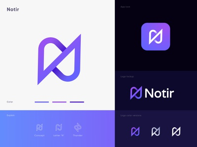 (N+Thunder) branding logo for Notir, Modern Minimal logo design letters simple letter mark monogram iconography letter n logo 3d logo bolt gradient typography letter n n letter logo icons power identity for sale branding logo modern logo arrow thunder