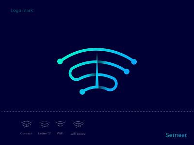 Setneet Logo Exploration, Wifi+S+Wifi Speed, Technology logo technology logo best logo designer modern logos 3d logo technology branding agency gradient logo outline identity branding minimalist logo modern logo letter s s speed internet signal wireless wifi