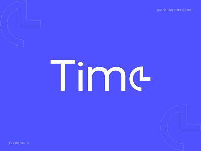 Time Typography wordmark modern logo logo trends 2021 logo design best logo designer business logo branding agency lettering checkmark simple shedule logotype logo designer identiy branding typography logo watch clock time