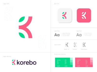 Brand identity design for 'Korebo'  | Letter K + Leaves logo minimalist app logo overlay clean app icon leaves logo nature letter logo k letter k logo branding and identity creative branding simple logo flat logo modern logo identity branding branding brand logo mark logo desgin