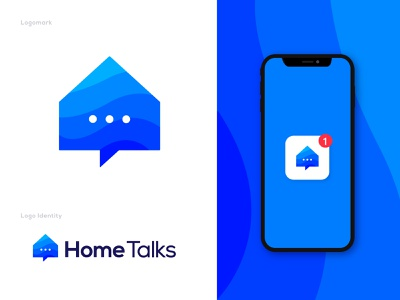 Home Talks logo - App icon logo design vector flat symbol illustration website 3d clean logo redesign flat modern logomark creative modern minimalist logo connection house realstate chat message logo trends 2021 modern logo abstract brand identity branding chat app app icon icons logo design chat talk home talk