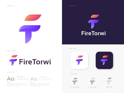 Brand identity logo design for Fire Torwi | Letter F + T+ Leaves t letter logo branding agency logoicon minimalist logo conceptual monogram letter mark nature abstract creative branding modern logo logotype app icon leaves fire f letter ft identity branding branding logo design brand identity