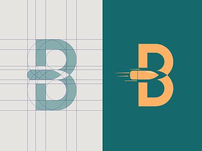 B Bullet logo (Grid Logo System) Golden Ratio Logo design golden ratio b letter logo rifle abstract modern luxury symbol icon identity branding brand grid logo grid logo shoot pistol firearm revolver gun bullet