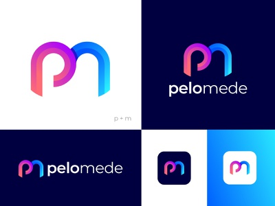 P + m letter logo (pelomede) modern, minimal, professional logo professional logo design minimal simple clean brand identity creative logo gradient logo design app icon logo eye catching  concepts branding symbol colorful abstract logodesign modern logo logo mark lettermark letter logo o p q r s t u v w x y z a b c d e f g h i j k l m n m p
