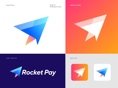 Rocket Pay - Fast Payment Method Logo Design Concept 🚀 paper plane gradient concept logomark b r a n d i d e n t i t y branding letter fly space rocket logo growing spaceship star launch rocket cards bank app pay money funds crypto payment app icon technology credit card creditcard banking pay checkout wallet pay payment fast modern payment flat minimal logo logodesign logos logo logomark illustration symbol logo vector  typography icon abstract colorful logo