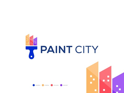 PAINT CITY LOGO DESIGN building property house real state logo modern abstract minimal logo town skyline building city painting roller paint logo coloring decorate paintbrush home logo designer branding brand identity illustration corporate company vector brush flat logo