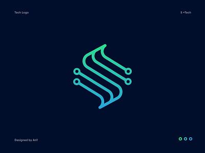 S + Tech Logo startup digital tech company fintech technology tech it software gradient abstract modern s letter app icon mark identity branding design logo