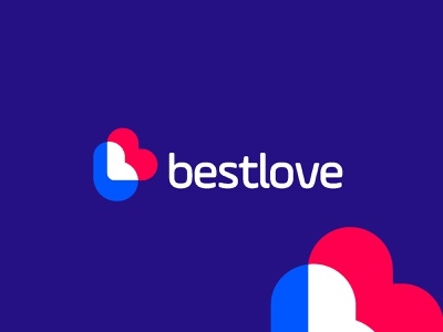 bestlove logo design | b with love icon abstract modern type typography logo futuristic style letter b symbol icon logo mark colors red blue bright overlapping overlap flat professional simple creative popular best shot logo designer logo